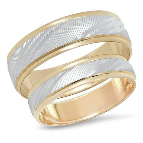 his hers 14k multi two tone gold wedding band engagement ring matching duo ebay