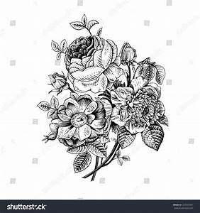 Floral Card Bouquet Roses Dogrose Anemone Stock Vector ...