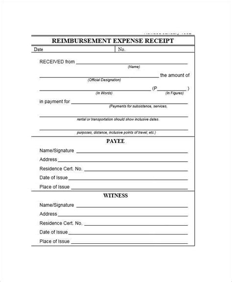expense receipt templates  ms word