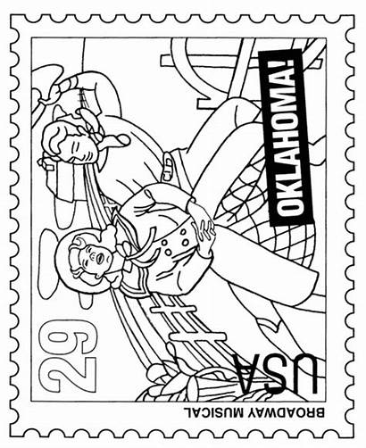 Coloring Broadway Pages Stamp Oklahoma Sheets Postage