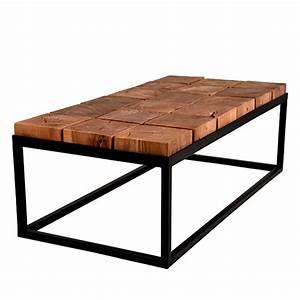 Table Basse Carre Bois Et Metal Ides De Dcoration