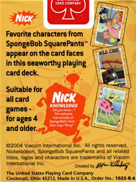 nickelodeon spongebob deck drawdown nickelodeon spongebob squarepants cards