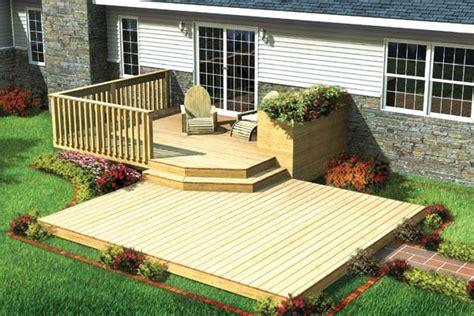 project plan 90009 split level patio deck w planter