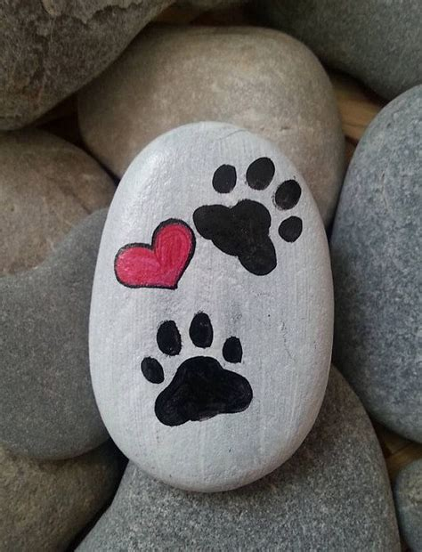 cat paw stone hand painted paw stone heart paw painting