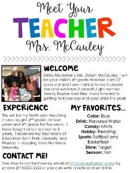 free meet the teacher meet the editable template by zanah mccauley tpt