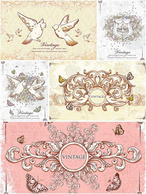 vintage frames  doves card set vector