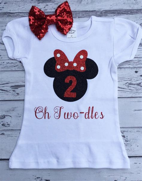 black  red  twodles minnie mouse  birthday shirt