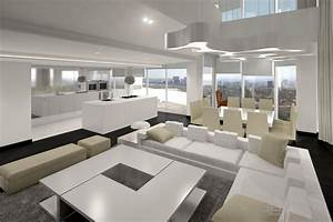 Comedor, Cocina, Salon style moderno color beige, blanco, gris