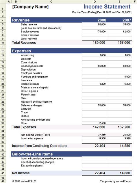 income statement template  vertexcom