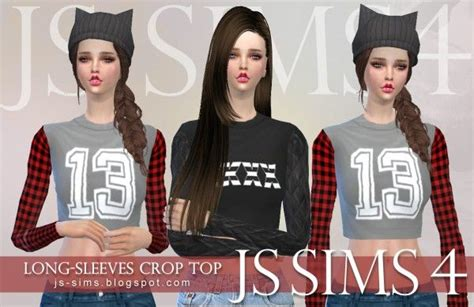 js sims  long sleeves crop top sims  downloads sims