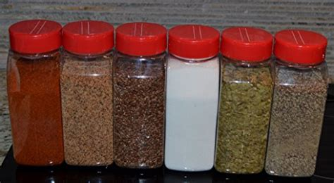 baire bottles  oz clear plastic spice jars  pack red