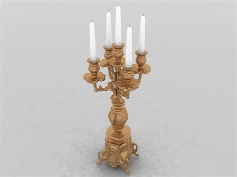 antique gold candlestick  model ds max files