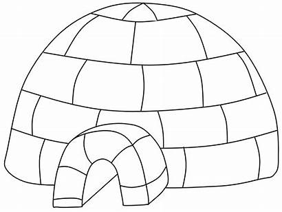 Igloo Coloring Pages Clipart Printable Clip Eskimo