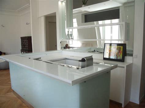 petit bar cuisine cuisine lineaquattro en verre blanc