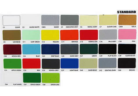 spray paint colour chart uk canbrush standard colours spray paint high quality aerosol