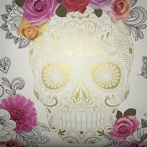 Rasch Wallpaper | Calavera Sugar Skull White/Multi ...