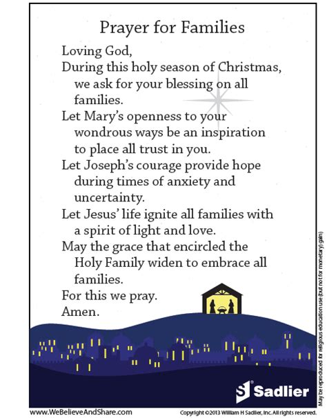christmas table grace prayer feast of the holy family