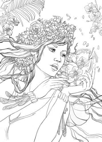 fantasy girl printable adult coloring pages  favoreads