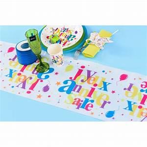 Chemin De Table Anniversaire : chemin de table joyeux anniversaire multicolore ~ Melissatoandfro.com Idées de Décoration