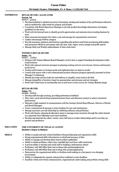 retail buyer resume sles velvet