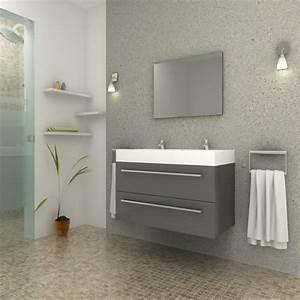 Prix Meuble Salle De Bain : ensemble meuble salle de bain aqua gris ~ Teatrodelosmanantiales.com Idées de Décoration