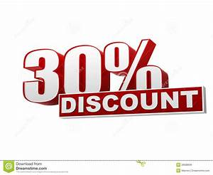 30 percentages discount red white banner letters and With lettering on the cheap