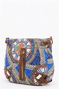 Designer Quilted Crossbody Bags Blue Quilted Mixed Print Crossbody Bag Handbags Quilt Bags