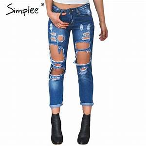 Simplee Apparel Boyfriend hole ripped jeans women pants Cool denim vintage straight jeans for ...