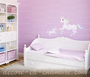 Decoration Licorne Chambre : stickers licorne pour chambre de petite fille vente de sticker cheval pour la d co de b b ~ Teatrodelosmanantiales.com Idées de Décoration