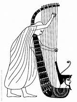 Coloring Harp Egypt Ancient Temple Priest Playing Adult Egyptian sketch template