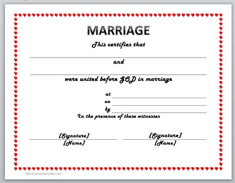 Microsoft Word Marriage License Template