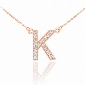 14k rose gold letter quotkquot diamond initial necklace With gold chain with letter k