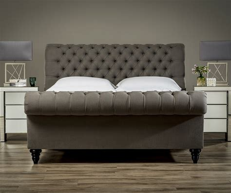 Black Leather Headboard Double by Stanhope Studded Chesterfield Bed Upholstered Beds From