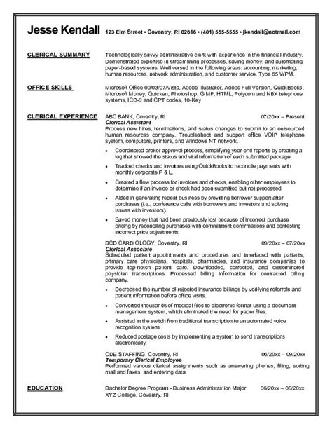 exle clerical resume free sle
