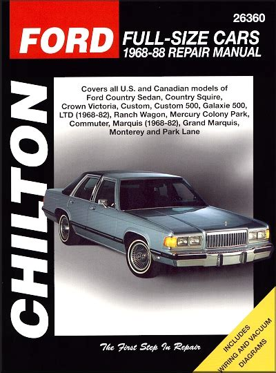 car repair manuals download 1988 mercury grand marquis user handbook crown victoria ltd colony park repair manual 1968 1988 chilton