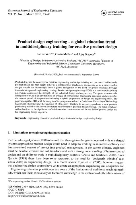 (PDF) Product design engineering - a global education