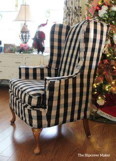 wing chair slipcover  buffalo check slipcovers