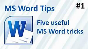 Five Useful Ms Word Tricks  Ms Word Tips  1