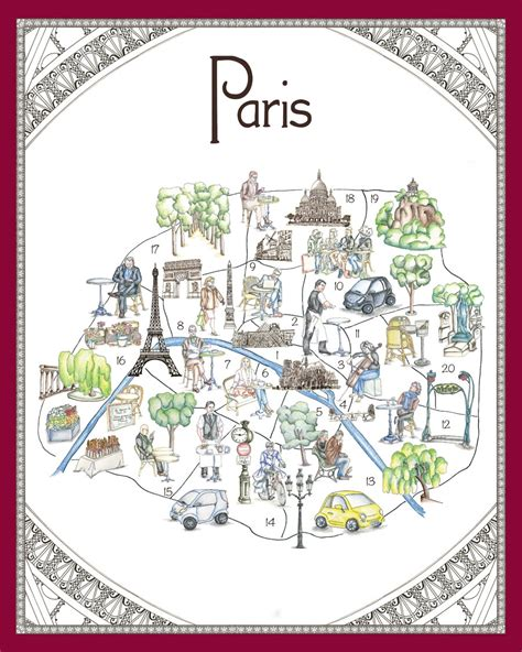 whimsical map  paris