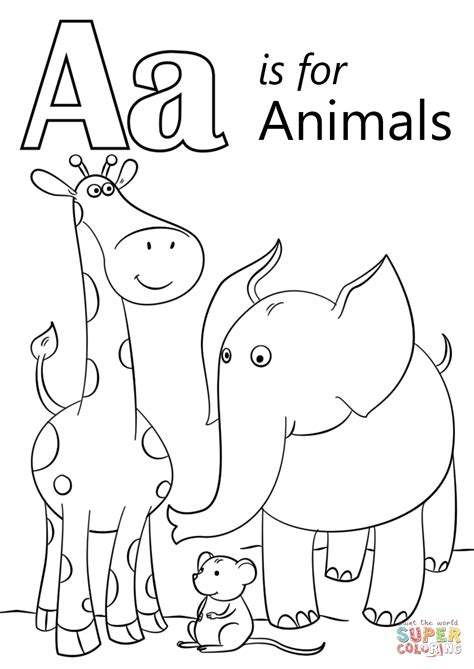 letter a coloring pages letter a is for animals coloring page free printable