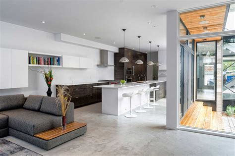 Open Concept Kitchen With Grey Living Room