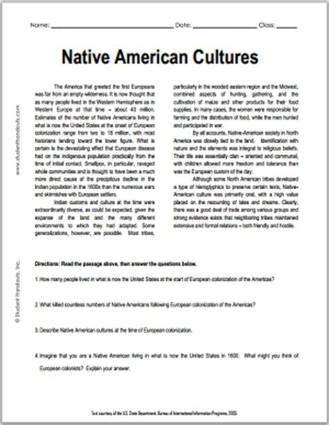 Native American Cultures  Free Printable American History Reading With Questions