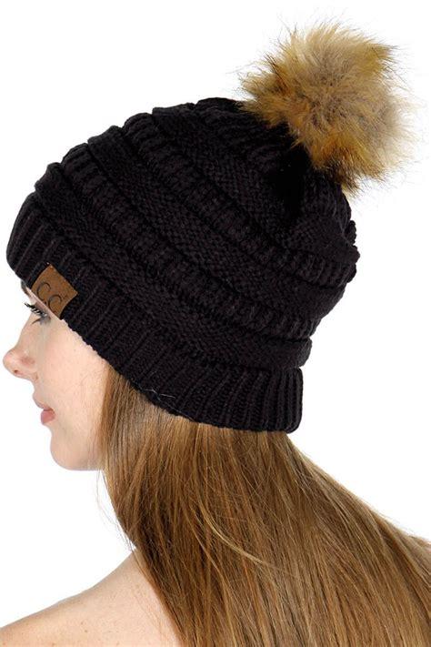 black faux fur pom pom cc beanie hat
