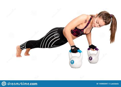 push ups strong bodybuilding woman kettlebells bell kettle doing kettlebell exercise workout training lifestyle fitness healthy sport