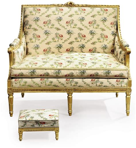 Canape Ancien Style Louis Xvi by A Louis Xvi Giltwood Canape And A Louis Xv Style Giltwood