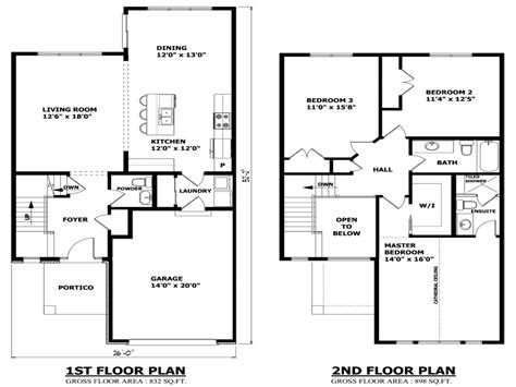 two floor plans simple two house modern two house plans