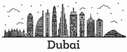 Dubai Uae Skyline Buildings Engraved Isolated Linear