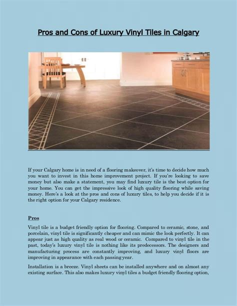 Lvt Flooring Pros And Cons by Pros And Cons Of Luxury Vinyl Tiles In Calgary