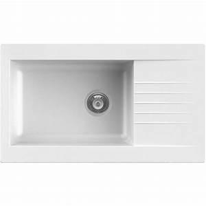 Evier En Gres Blanc 1 Bac : evier encastrer r sine blanc karta 1 grand bac avec ~ Premium-room.com Idées de Décoration