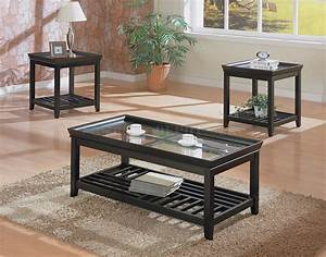 black contemporary 3pc coffee table set w beveled glass tops With contemporary glass coffee table sets